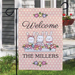 Vintage Bunnies Personalized Garden Flag