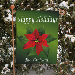 Poinsettia Holiday Personalized Garden Flag