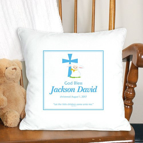 Christening Keepsake Blue Throw Pillow