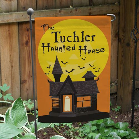 Haunted House Personalized Garden Flag