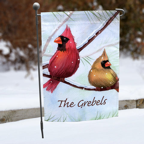 Winter Cardinals Personalized Garden Flag