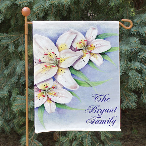 Lilies Personalized Garden Flag