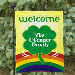 Four Leaf Clover Personalized Garden Flag