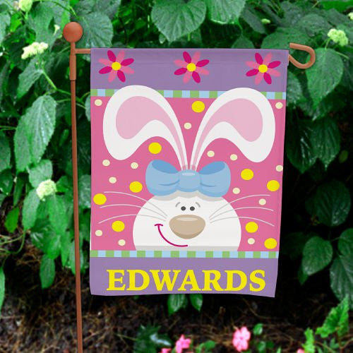 Personalized Easter Bunny Garden Flag