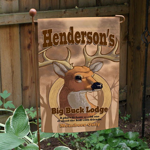 Big Buck Lodge Personalized Garden Flag