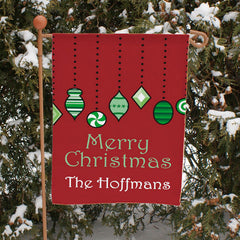 Holiday Ornaments Personalized Garden Flag