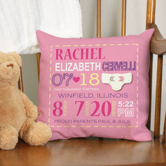 Baby Girl Birth Announcement Throw Pillow