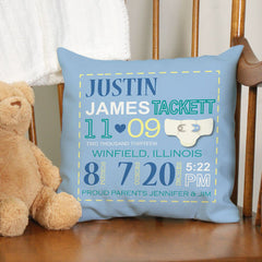 Baby Boy Birth Announcement Throw Pillow