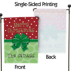 Christmas Bow Personalized Garden Flag