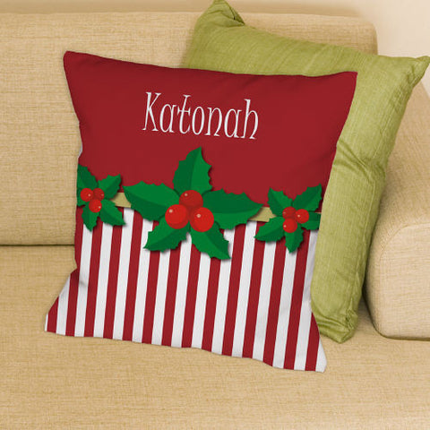 Christmas Stripes Embroidered Throw Pillow