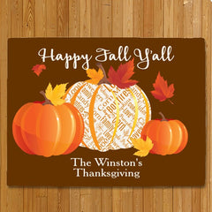 Personalized Happy Fall Y'all Doormat
