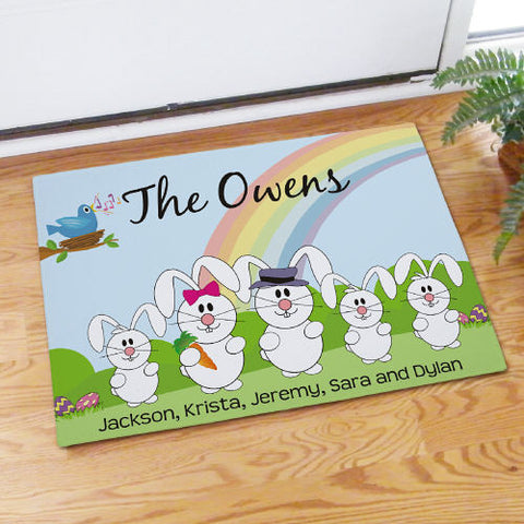 Bunny Family Personalized Doormat