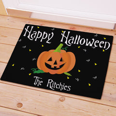 Black Halloween Personalized Doormat