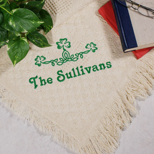 Embroidered Irish Family Name Afghan