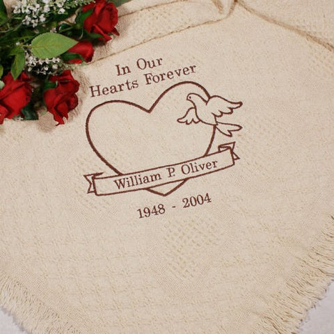 In Our Hearts Forever Embroidered Afghan