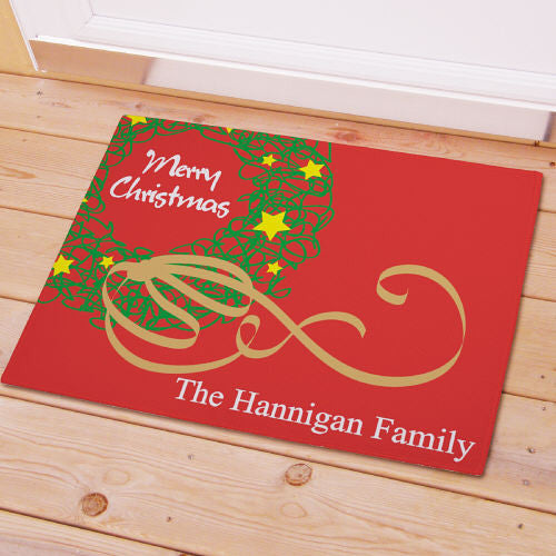 Merry Christmas Wreath Doormat