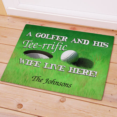 Golfer & His Wife Welcome Mat