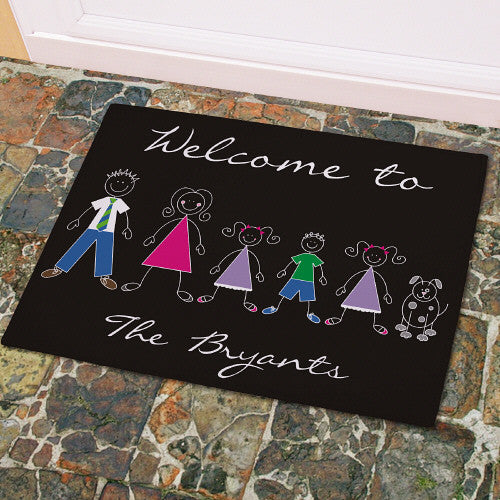 Stick Figure Family Welcome Mat