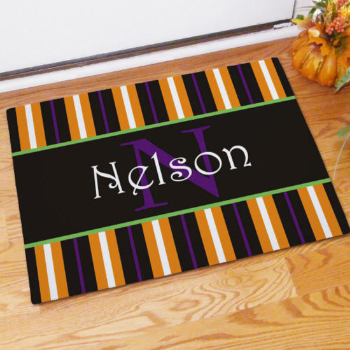 Halloween Stripes Personalized Doormat