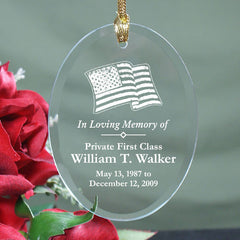 In Loving Memory Military Glass Ornament