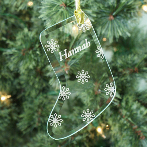 Snowflake Glass Stocking Ornament
