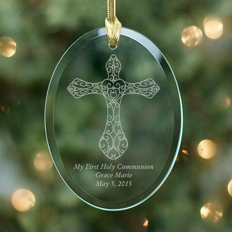 Custom Engraved Cross Glass Ornament