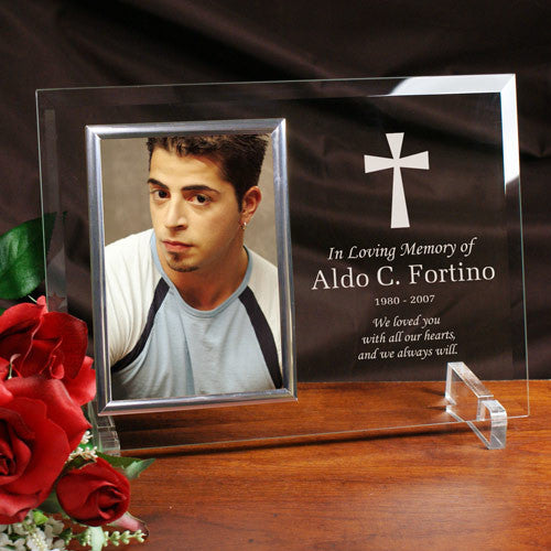 Engraved Cross Memorial Picture Frame