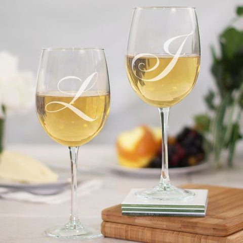 Engraved Couples Initials Wine Glass Set