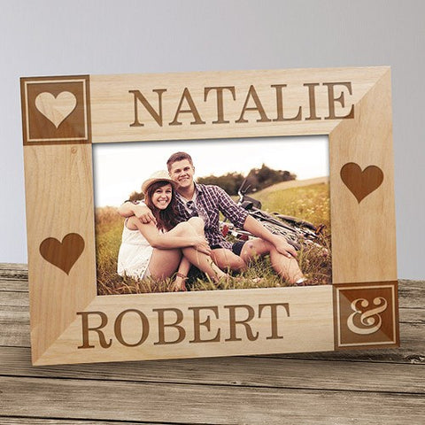 Hearts Personalized Wood Photo Frame