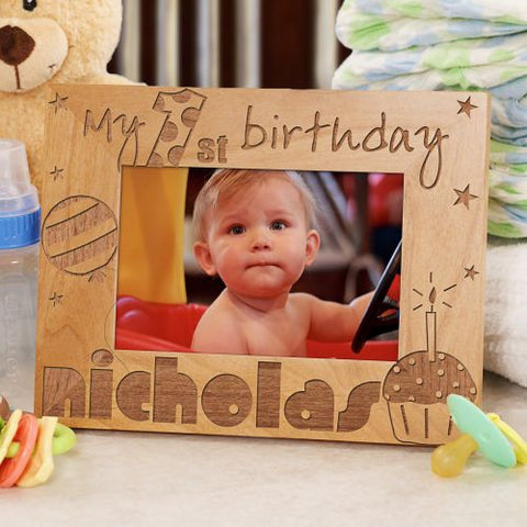 1st Birthday Wood Frame- Stars
