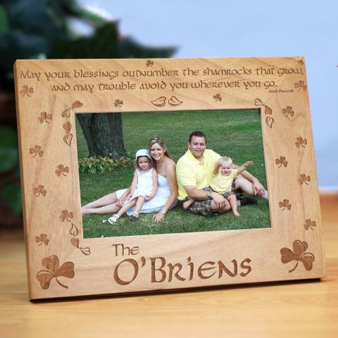 Shamrock Blessings Personalized Wood Picture Frame