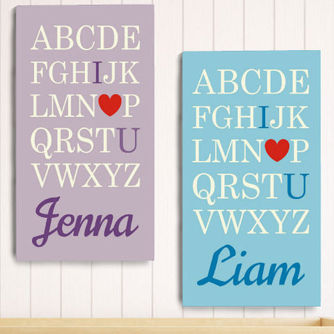 I Love You Alphabet Wall Canvas
