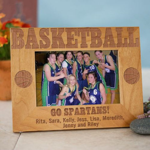 Basketball Engraved Wood Frame