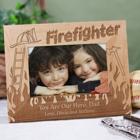 Firefighter Wood Picture Frame