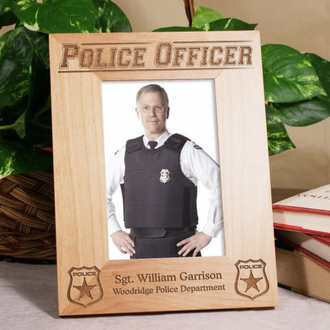 Police Officer Wood Picture Frame