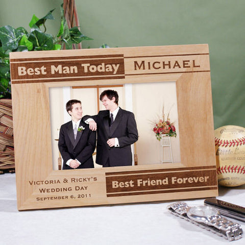 Best Man, Best Friend Engraved Wood Frame