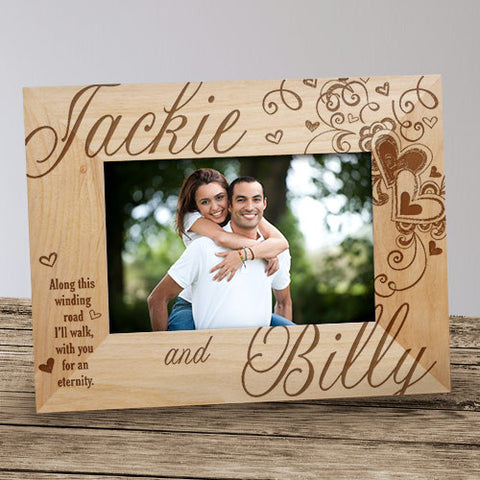 Couple's Heart Engraved Wood Frame