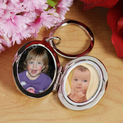 Personalized Silver Locket and Key Chain