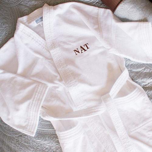 Embroidered Monogram Bathrobe