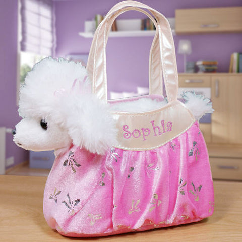 Embroidered Plush Poodle & Carrier