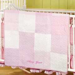 Embroidered Pink Baby Quilt