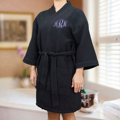 Embroidered Monogram Kimono Robe - 4 colors