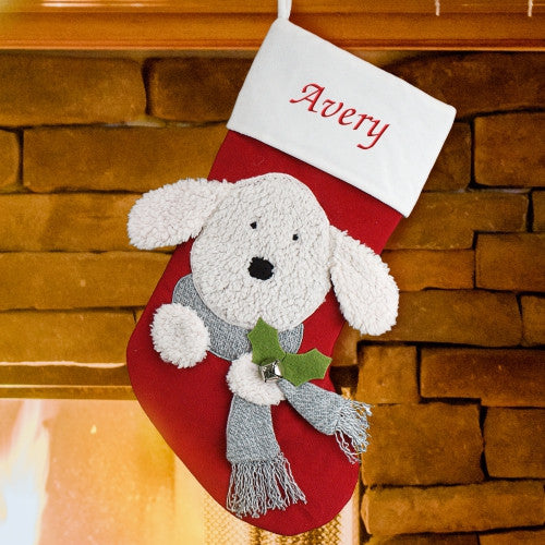 Doggy Embroidered Christmas Stocking