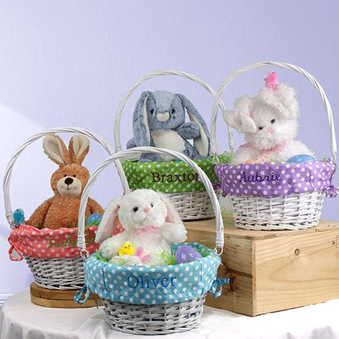 Easter gifts for children bellas personal gifts easter basket with embroidered liner negle Image collections