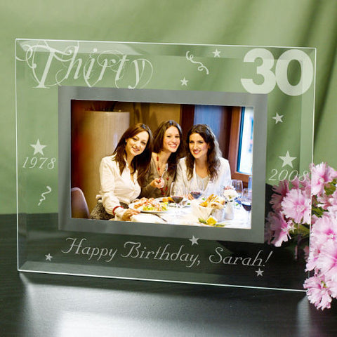 Engraved Birthday Glass Picture Frame