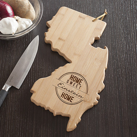 New Jersey State Shaped Cutting Board