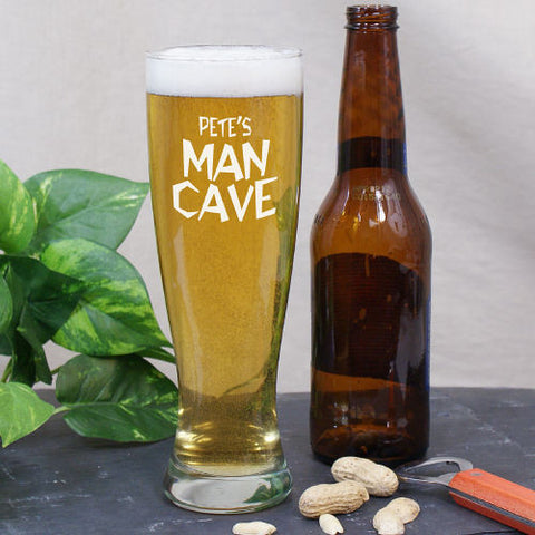 Engraved Man Cave Pilsner Glass