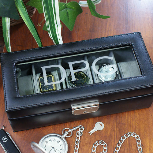 Men's Engraved Leather Watch Case
