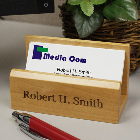 Engraved Maple Business Card Holder