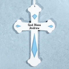 Engraved Blue Wall Cross